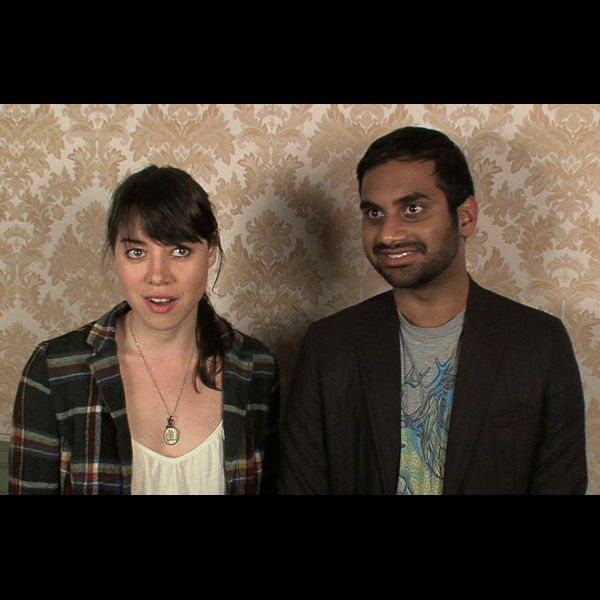 Aubrey Plaza and Aziz Ansari.