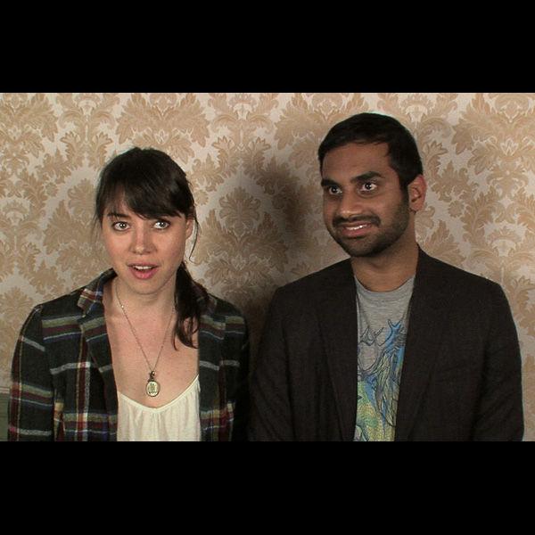 Aubrey Plaza and Aziz Ansari.